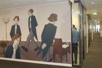 Sarnath Banerjee, An Encounter with Thomas Browne and other Commomplace Utopia, 2016/17. Installation view. Deutsche Bank offices, Upper Bank Street, Canary Wharf, London.