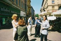 Roman Ondak, Guided Tour, 2002. Tours commenting the empty gallery space and contemporary reality on the square in front of it were provided by a professional guide hired for this occasion. Performance at Gallery Josip Racic, Zagreb. Courtesy Roman Ondak and Johnen Galerie, Berlin