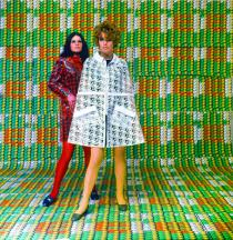 Models wearing coats designed by Lukowski + Ohanian with textile pattern by Thomas Bayrle, Galleria Apollinaire, Milan, 1967–68. Photo: Christian Roeder